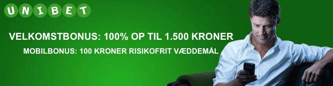 Unibet velkomstbonus på 1.000 kroner