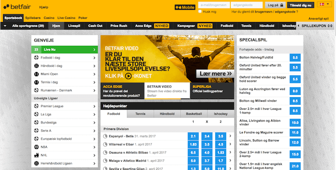 Sportsbook hos Betfair
