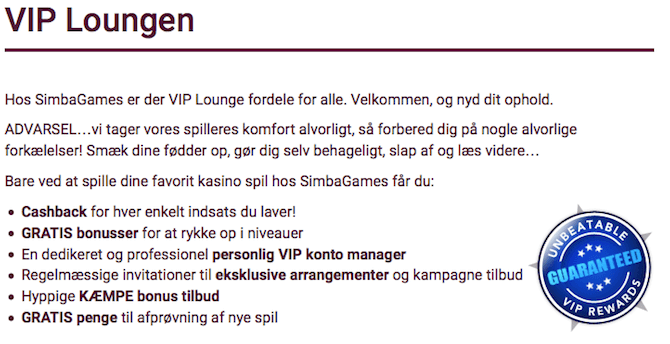 VIP program hos Simbagames