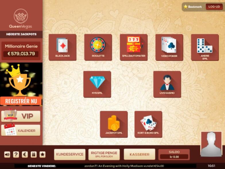 Casinolobbyen hos Queen Vegas