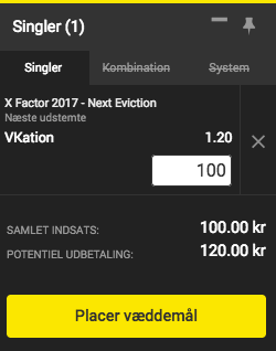 X Factor odds 2017 VKation