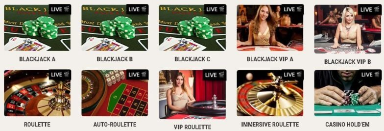 Udvalg af Live Casino Spil