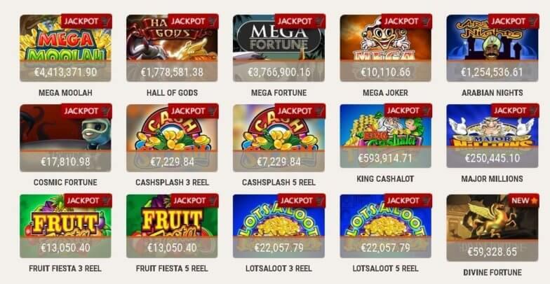Udvalgte Jackpot Spilleautomater