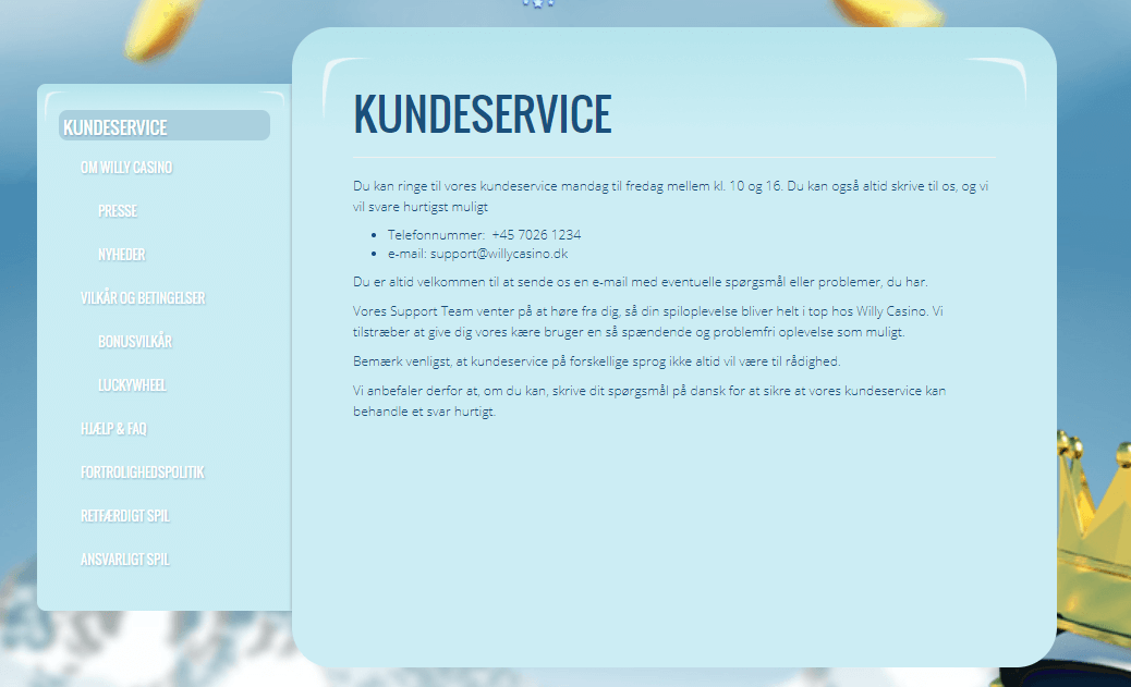 Kundeservice Willy Casino