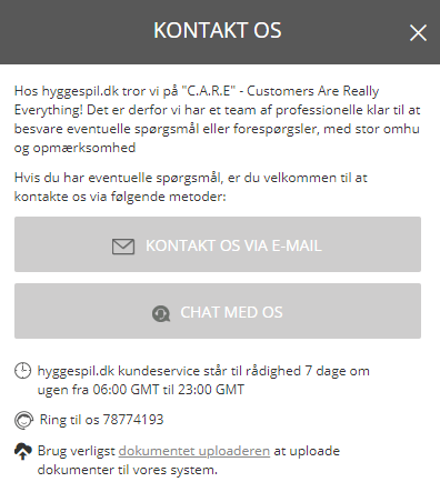 Hyggespil kundeservice