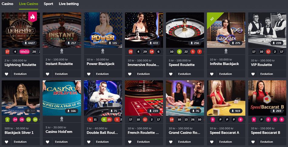 Come On casino live casino